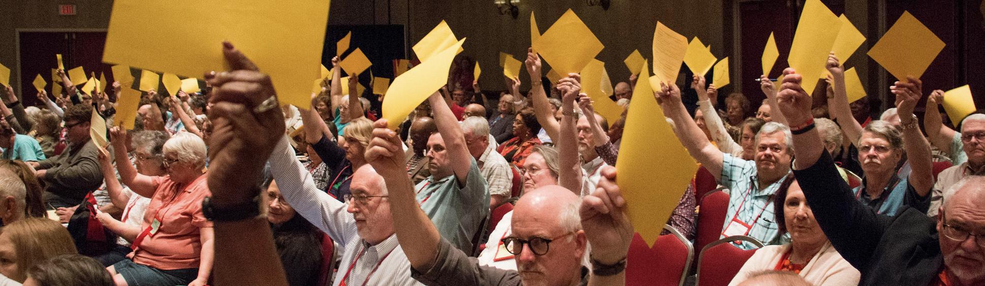 Delegates voting